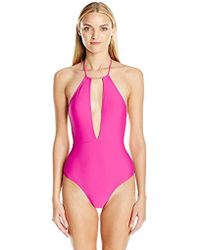 9a80d16a4efa54 Lyst - Ted Baker Illiana Mesh Detail One-piece Swimsuit in Black