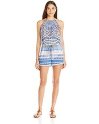 Jessica Simpson - Versailles Chiffon High Neck Romper Cover-up - Lyst