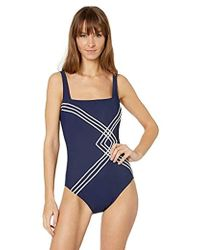 bee1d10484e5 Gottex Woven V-neck One Piece Swimsuit in Blue - Lyst