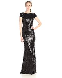 Badgley Mischka - Cowl Back Sequin Classic Gown - Lyst