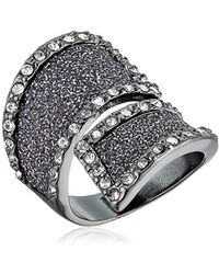 Guess - Glitter And Stone Bypass Wrap Hematite Ring, Size 7 - Lyst