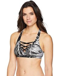 5b0ae40090 Coastal Blue - Swimwear Lace Up Front Bikini Top - Lyst