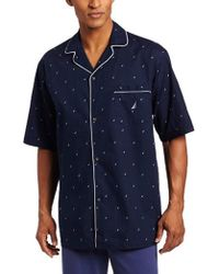 Nautica - Short Sleeve Cotton Button Down Woven Pajama Top - Lyst