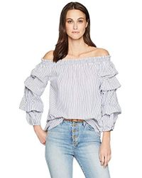 Max Studio - Off The Shoulder Cotton Shirting - Lyst
