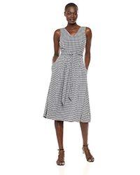 e5112e3fe3c98 Lyst - Calvin Klein Sleeveless A Line Midi Dress With V Neckline in ...