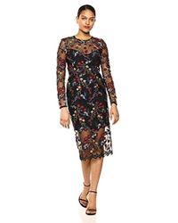 741db252855ca Dress the Population - Sophia Longsleeve Lace Illusion Midi Sheath Dress -  Lyst
