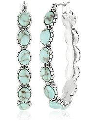Lucky Brand - S Oblong Turquoise Inlay Hoop Earring - Lyst