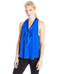daf93826cffdc Lyst - Amanda Uprichard Top - Thalia Silk in Blue