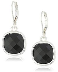"Napier - ""cushions"" Silver-tone/jet Leverback Drop Earrings - Lyst"