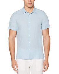 Perry Ellis - Short Sleeve Solid Linen Cotton Button-up Shirt - Lyst