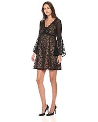 Nanette Lepore - Samba Shift Long Sleeve Lace And Pindot Dress - Lyst