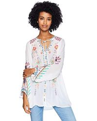 Johnny Was - Rayon Tie Neck 3/4 Sleeve Relaxed Embroidered Blouse - Lyst
