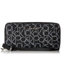 Calvin Klein - Key Item Monogram Large Continental Zip Around Wallet - Lyst