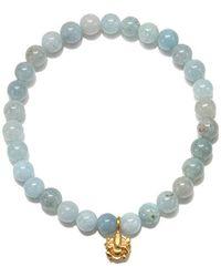 Satya Jewelry - S Aquamarine Gold Ganesha Stretch Bracelet, Blue, One Size - Lyst