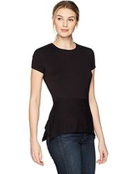 Ivanka Trump - Short Sleeve Knit Peplum Tee Shirrt - Lyst