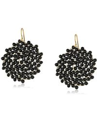 Kenneth Cole - Jet Faceted Woven Bead Round Drop Earrings - Lyst