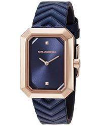 Karl Lagerfeld - Linda Quartz Stainless Steel And Leather Casual Watch, Color: Rose Gold-tone, Blue (model: Kl6104) - Lyst
