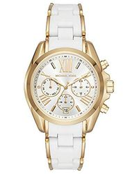 Michael Kors - Watches S Bradshaw Gold-tone And White Silicone Watch - Lyst