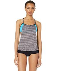 99976265e968c Nike Double Up Layered Sport Tankini Swimsuit Top in Black - Lyst