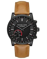 Michael Kors - Access 'hutton Hybrid Smartwatch' Quartz Stainless Steel And Leather Casual Watch, Color Brown (model: Mkt4026) - Lyst