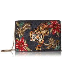 Mary Frances - Fierce Beaded-embroidered Tiger Crossbody Clutch Handbag - Lyst