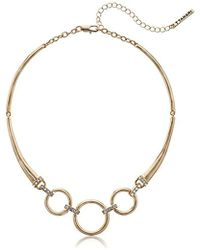 T Tahari - Collar Neck With Stones, Gold, One Size - Lyst