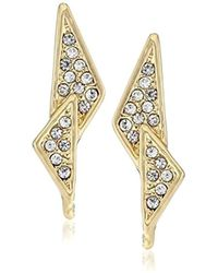 "Rebecca Minkoff - ""caged Stud"" Crystal-pave Double Triangle Earrings - Lyst"