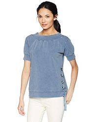 William Rast - Everett Off The Shoulder Lace Up Sweatshirt - Lyst