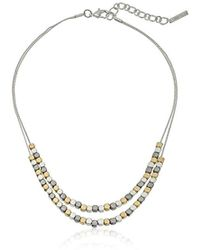 """Nine West - Double Row Frontal Necklace, 16"""" - Lyst"""