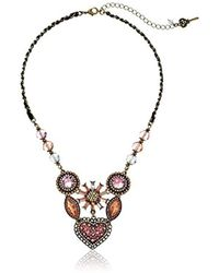 Betsey Johnson - Vintage Heart 6-piece Cluster Frontal Necklace Pink Multi Pendant Necklace - Lyst