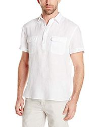 Perry Ellis - Short Sleeve Solid Linen Popover Shirt - Lyst