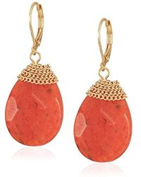 Kenneth Cole - Gold Tone Stone Leverback Drop Earrings, Coral, One Size - Lyst