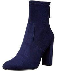 34699c2b927 Steve Madden - Edit Velvet Side Zip Block Heel Booties - Lyst