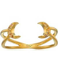 Satya Jewelry - Celestial Goddess White Topaz Gold Double Moon Open Adjustable Ring - Lyst