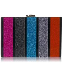 MILLY - Glitter Stripe Box Clutch - Lyst