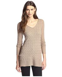 James & Erin - Link Pattern Tunic-length Cashmere Sweater - Lyst