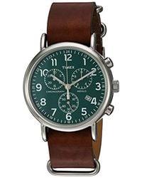 Timex - Unisex Tw2p97400 Weekender Chrono Brown Leather Slip-thru Strap Watch - Lyst