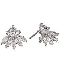 CZ by Kenneth Jay Lane - 2cttw Multi Cz Ear Pierced Princess/marquis Fringe Stud Earrings, Clsi, One Size - Lyst