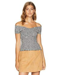 Cupcakes And Cashmere - Bowman Off The Shoulder Gingham Top - Lyst
