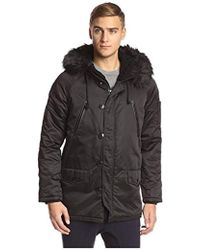 Members Only - Hooded Military Snorkel Parka With Detachable Faux Fur Trim - Lyst