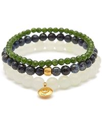 Satya Jewelry - New Jade Dumortierite Taiwan Jade Gold Heart Lotus Stretch Bracelet Set, Multi, One Size - Lyst