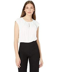 Kasper Cap Sleeve Key Hole Solid Light Weight Crepe Blouse - White