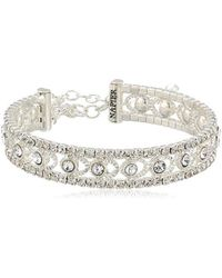 Napier - Silver-tone And Crystal Coil Cuff Bracelet - Lyst