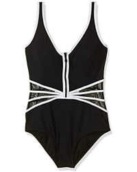 Gottex - Contrast Piping Zip Up V-neck One Piece Swimsuit - Lyst