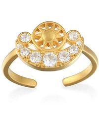 Satya Jewelry - White Topaz Gold Sun & Moon Adjustable Ring, Size: 5-7 - Lyst