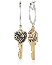 BCBGeneration - Bcbg Generation Two-tone 'peace' And 'love' Key Drop Earrings, Silver-crystal, One Size - Lyst