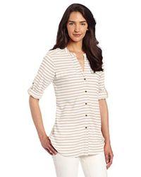 Calvin Klein - Striped Roll-sleeve Shirt - Lyst