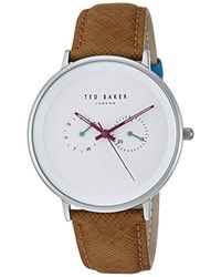 Ted Baker - 'brad' Quartz Stainless Steel And Leather Casual Watch - Lyst