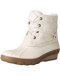 b5a492566806 Lyst - Sperry Top-Sider Women s Saltwater Wedge Tide Wool Duck Boot ...
