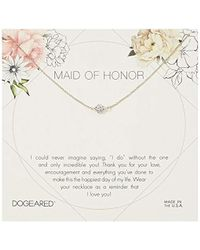 """Dogeared - Maid Of Honor Flower Card Pave Sparkle Chain Necklace, Sterling Silver, 16"""" + 2"""" Extension - Lyst"""